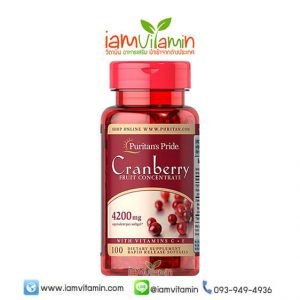 Puritan's Pride Cranberry Fruit Concentrate with C & E 4200 mg 100 Softgels