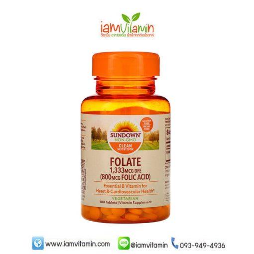 Sundown Naturals Folate 1,333mcg DFE ( Folic Acid 800 mcg ) 100 Tablets โฟเลต (กรดโฟลิก)