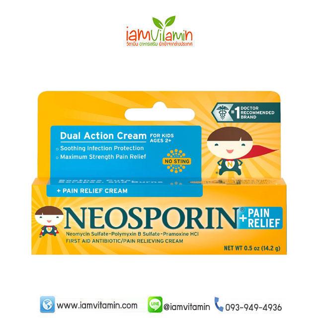 Neosporin Dual Action Cream Pain relief Cream For Kids Ages 2+ ยาทาแผลสด ฆ่าเชื้อ